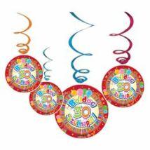 Boldog 30. Szülinapot Színes Party Spirális Függő Dekoráció - 6 db-os