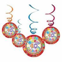 Boldog 40. Szülinapot Színes Party Spirális Függő Dekoráció - 6 db-os