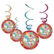 Boldog 50. Szülinapot Színes Party Spirális Függő Dekoráció - 6 db-os