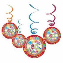 Boldog 60. Szülinapot Színes Party Spirális Függő Dekoráció - 6 db-os