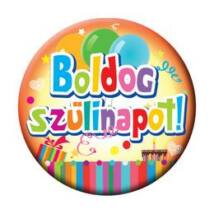 Boldog Születésnapot Feliratos Színes Kitűző - 5,5 cm