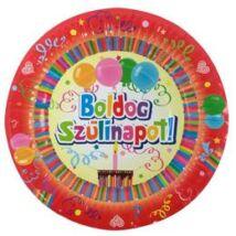 Boldog Születésnapot Színes Party Papír Tányér - 24 cm-es, 6 db-os