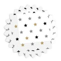 Elegáns Csillag Mintás Parti Szalvéta - 33 cm x 33 cm, 20 db-os