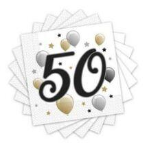 Elegáns Léggömbös 50-es Számos Szülinapi Parti Szalvéta - 33 cm x 33 cm, 20 db-os