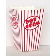 Fehér-Piros Csíkos Popcorn Tasak, 10 db-os