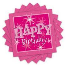 Happy Birthday Rózsaszín Sparkle Szülinapi Parti Szalvéta - 33 cm x 33 cm, 20 db-os