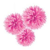 Pink Bolyhos Függő Dekoráció - 41 cm, 3 db-os