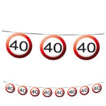 40-es Sebességkorlátozó Születésnapi Party Füzér - 12 m