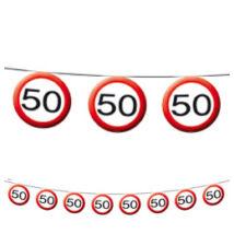 50-es Sebességkorlátozó Születésnapi Party Füzér - 12 m