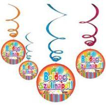Boldog Szülinapot party függő dekoráció, 6 db-os