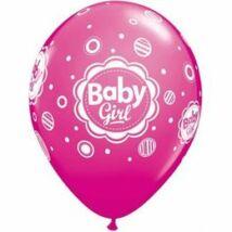 11 inch-es Baby Girl Dots - Pöttyös Pink Léggömb Babaszületésre