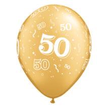 11 inch-es 50-es számmal printelt Gold Léggömb Évfordulóra