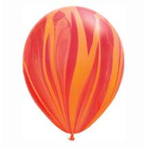 11 Inch-Es Red Orange Rainbow SuperAgate Kerek Latex Lufi