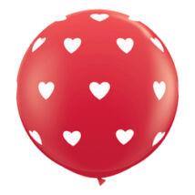 3 feet-es Piros Alapon Fehér Szívek Léggömb
