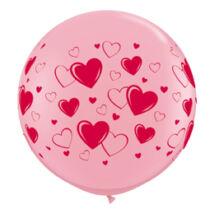 3 feet-es Hearts és Hearts Pink Kerek Léggömb