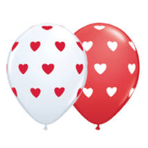 11 inch-es Big Hearts Red and White Szives Lufi
