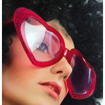 Piros Csillámos Nagy Szív Alakú Szemüveg