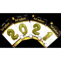 2021 fólia lufi szett, arany, önzáró szelepes