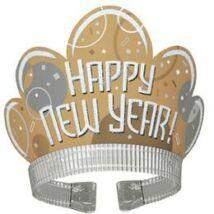 Happy New Year Feliratú Arany Fehér Glitteres Party Fejdísz Szilveszterre, 4 db