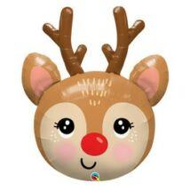 35 inch-es Rénszarvas Fej - Red-Noses Reindeer Super Shape Fólia Lufi Karácsonyra