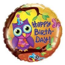 18 inch-es Birthday Owl - Baglyos Születésnapi Fólia Léggömb