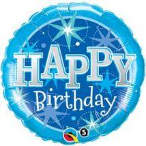 18 inch-es Birthday Kék Csillogó Születésnapi Fólia Léggömb