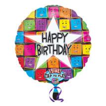 28 inch-es Happy Birthday Faces Születésnapi Éneklő Zenélő Fólia Léggömb