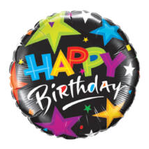 18 inch-es Ragyogó Csillagok Feketén - Birthday Brilliant Stars Black Születésnapi Fólia Léggömb