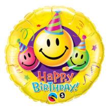 36 inch-es Mosolygó Arcok - Birthday Smile Faces Születésnapi Fólia Léggömb