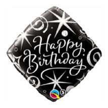 18 inch-es Szikrák és Spirálok Feketén - Birthday Elegant Sparkles and Swirls Születésnapi Fólia Léggömb