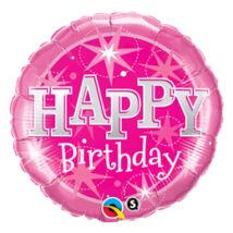 18 inch-es Birthday Pink Sparkle Születésnapi Fólia Léggömb