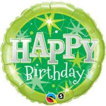 18 inch-es Birthday Zöld Csillogó Születésnapi Fólia Léggömb