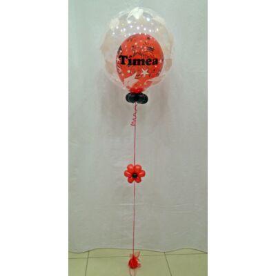 Ballagásos 2in1 bubble léggömb extra, névvel ellátva, piros