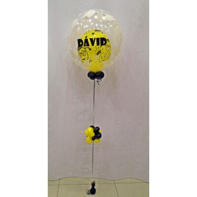 Ballagásos 2in1 bubble léggömb extra, névvel ellátva, sárga