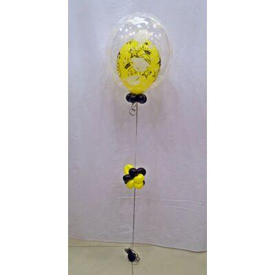Ballagásos 2in1 bubble léggömb, basic, sárga