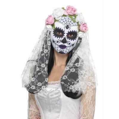 Fehér mexikói halottak napja maszk