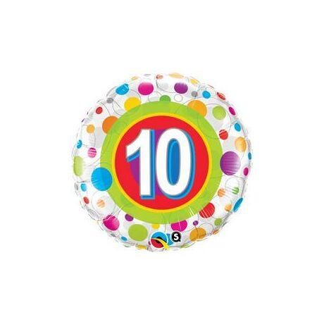 18 inch-es Colorful Dots - Színes Pöttyös 10. Szülinapi Születésnapi Számos Fólia Léggömb