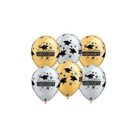 11 inch-es Diplomaosztó Kalap Mintás Silver & Gold - Ezüst & Arany Ballagási Lufi