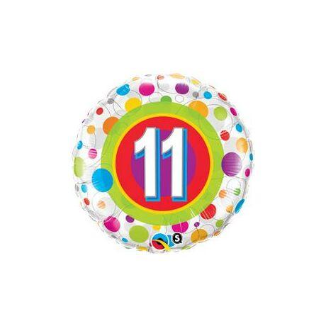 18 inch-es 11-es Colorful Dots - Színes Pöttyös Szülinapi Számos Fólia Lufi