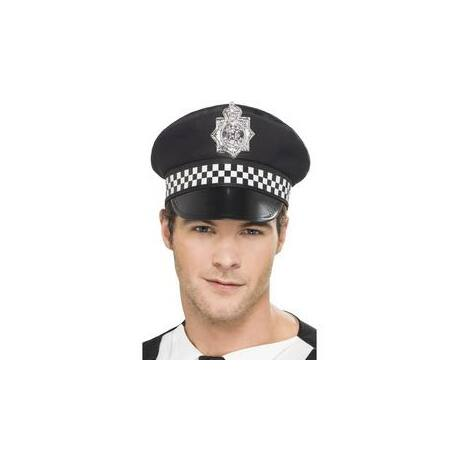 Fekete Rendőr Sapka Kockás Pánttal