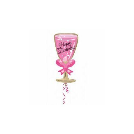 Happy Birthday Pink Glass - Rózsaszín Pezsgős Pohár Fólia Léggömb