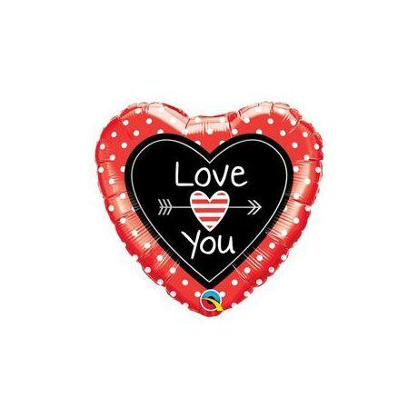 7b63664056 18 inch-es Love You Dots & Arrows Szerelmes Szív Fólia Lufi ...