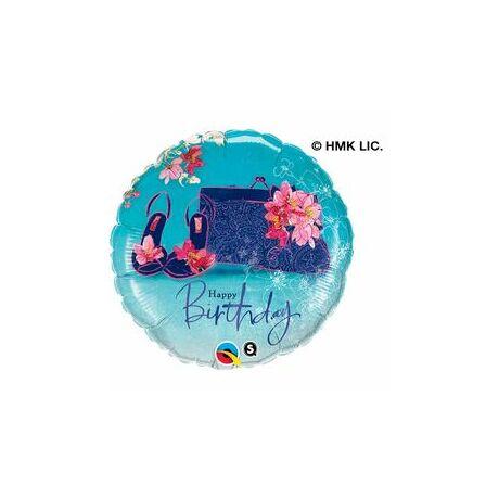 18 inch-es Virágos Cipő és Táska - Birthday Shoes & Handbag Születésnapi Fólia Léggömb