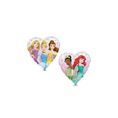 18 inch-es Multi-Disney Princess - Hercegnők Szív Alakú Fólia Lufi (Hamupipőke, Hófehérke, Kishablány - Ariel, Csipkerózsika, Szépség és a Szörnyeteg - Belle, Béka hercegnő - Tiana)
