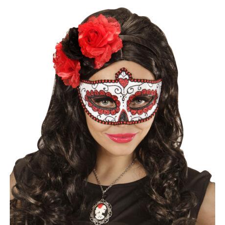 Mexikói halottak napja szemmaszk, piros