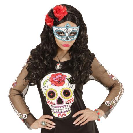 Mexikói halottak napja szemmaszk, kék