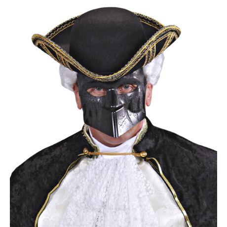 Fekete velencei glitteres maszk