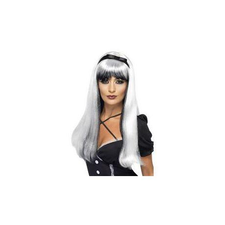 Fehér-fekete elbűvölő paróka