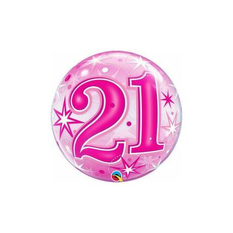 22 inch-es 21 Pink Starburst Sparkle Szülinapi Számos Bubble Lufi