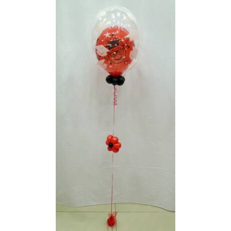 Ballagásos 2in1 bubble léggömb, basic, piros
